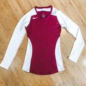 NIKE sz XS Dri-fit long sleeve burgundy shirt